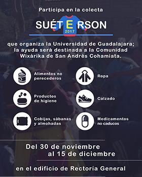 Cartel informativo sobre el Suéterson 2017,  Periodo de recepción de productos: Del 30 de noviembre al 15 de diciembre, de 8:00 a 19:00 horas, en Av. Juárez 976, planta baja