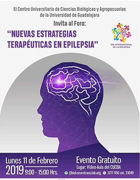 Cartel informativo sobre el Foro: Nuevas estrategias terapéuticas en epilepsia, el 11 de febrero, de 9:00 a 15:00 h. en el Video-Aula del CUCBA