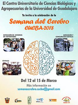 Cartel informativo sobre la Semana del Cerebro CUCBA 2018,  Del 12 al 15 de marzo, CUCBA Camino Ramón Padilla Sánchez No. 2100 Nextipac, Zapopan