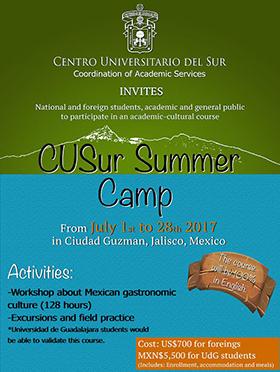 Cartel con texto informativo del CUSur Summer Camp, en donde se señala el costo del evento y la actividades que incluyen, así como los días a efectuarse.