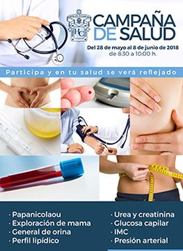 Cartel informativo de la Campaña de salud. A realizarse del 28 de mayo al 8 de junio, de 8:30 a 10:00 horas. En el Área Médica del Edificio de Rectoría General de la UdeG