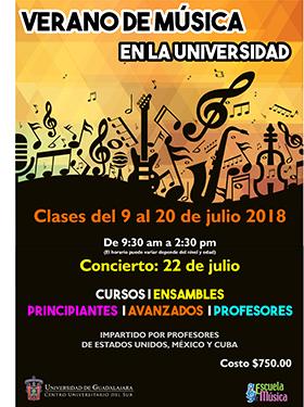 Cartel informativo sobre el Verano de música en la Universidad, del 9 al 20 de julio, en el  Centro Universitario del Sur