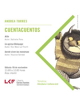 Cartel informativo sobre Cuentacuentos en la Librería Carlos Fuentes, el 10 de noviembre, 11:00 h. en el Área infantil de la Librería Carlos Fuentes