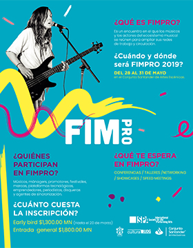 """Cartel informativo sobre el FIMPRO 2019 """"Las artes nos unen"""". Conferencias, talleres, networking, showcases y speed meetings, del 28 al 31 de mayo, en el Conjunto Santander de Artes Escénicas"""