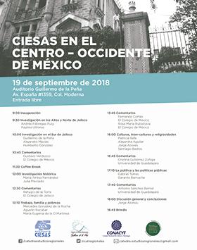 Cartel con texto informativo de las actividades a realizarse en el CIESAS en el Centro-Occidente de México; el 19 de septiembre, de 9:00 a 18:45 horas en el Auditorio Guillermo de la Peña. Entrada ibre. Se proporciona enlace para mayores informes.