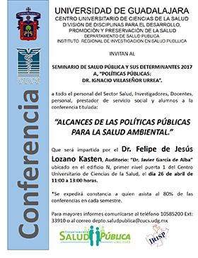 """Cartel invitando a la conferencia """"Alcances de las políticas públicas para la salud ambiental"""", convocada por el CUCS."""