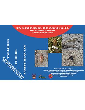 """Cartel informativo y de invitación al XX Simposio de Zoología """"Dr. Rodolfo Dirzo"""". Conferencias, talleres y cursos. A realizarse del 15 al 19 de octubre, en el Centro Universitario de Ciencias Biológicas y Agropecuarias."""
