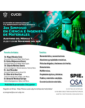 Cartel informativo y de invitación al 3er Simposio en Ciencia e Ingeniería de Materiales. A realizarse del 21 al 23 de noviembre, en el Auditorio del Módulo Y del CUCEI.