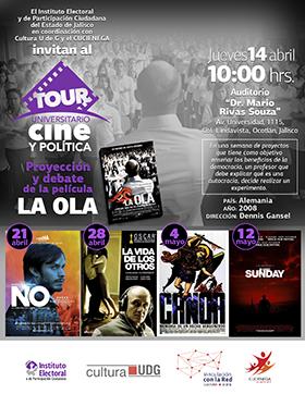 Cartel con información del Tour Universitario Cine y Política