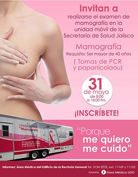 Cartel con texto informativo e invitación para realizarse el examen de mamografía, tomas de PCR y papanicolaou, en la Unidad móvil de la Secretaria de Salud Jalisco, el 31 de mayo de 8:00 a 16:00 horas