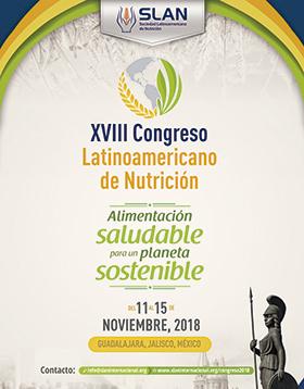 Cartel informativo sobre el XVIII Congreso Latinoamericano de Nutrición, Del 11 al 15 de noviembre, Guadalajara, Jalisco
