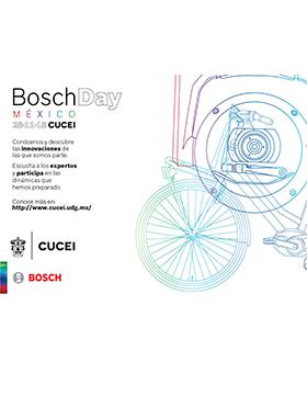 Cartel informativo sobre el Bosch Day México, el  28 de noviembre en el Centro Universitario de Ciencias Exactas e Ingienerías