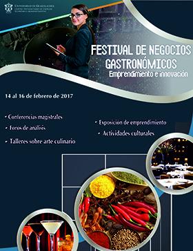 Cartel con texto de  Conferencias magistrales, foros de análisis, talleres sobre arte culinario, exposición de emprendimiento y actividades culturales