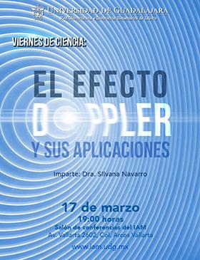 Cartel con lugar, fecha y ponente de la conferencia el efecto Doppler y sus aplicaciones