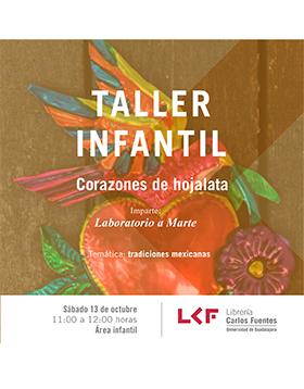 Una artesanía de hojalata con un corazón y un pájaro en el Cartel invitación al taller de la Libreria Carlos Fuentes