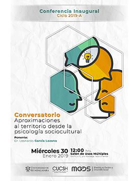 Cartel informativo sobre la Conferencia inaugural del ciclo 2019A de la Maestría en Gestión y Desarrollo Social, el 30 de enero, a las 12:00 h. en el Salón de Usos Múltiples, CUCSH Belenes