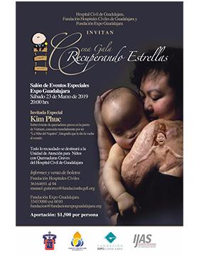 Cartel informativo y de invitación a la Cena gala: Recuperando estrellas. A realizarse el 23 de marzo, a las 20:00 horas, en el Salón de eventos especiales, Expo Guadalajara.