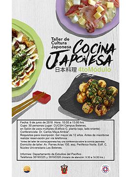 Cartel informativo del Taller de Cultura Japonesa, 4to. Módulo. A realizarse el 9 de junio, de 10:00 a 13:00 horas. En el CUCSH campus Belenes. ¡Cupo limitado!