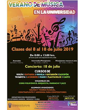 Folleto informativo del Verano de Música en la Universidad con profesores de México, Cuba y Estados Unidos. Clases del 8 al 18 de julio, de 8:00 a 13:00 horas (el horario depende del nivel y edad), en el Centro Universitario del Sur (CUSur)