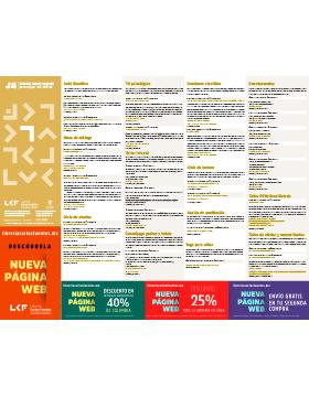 Folleto informativo de la programación de actividades de la Librería Carlos Fuentes del mes de agosto.