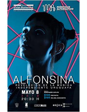 Cartel informativo del Miércoles Alternativo con Alfonsina: Revelación de la música independiente uruguaya. A realizarse el 8 de mayo, a las 20:30 horas, en el Teatro Vivian Blumenthal