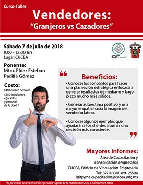Cartel informativo sobre el Curso-taller: Vendedores: Granjeros vs Cazadores el día 7 de julio, en el Centro Universitario de Ciencias Económico Administrativas