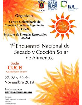 1er Encuentro Nacional de Secado y Cocción Solar de Alimentos a llevarse a cabo del 27 al 29 de noviembre.