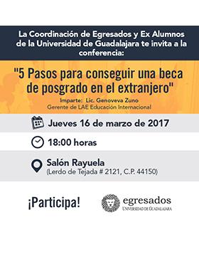 Cartel con texto de día lugar y ponente de Conferencia: 5 pasos para conseguir una beca de posgrado en el extranjero
