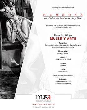 Cartel informativo del evento Mesa de diálogo: Mujer y Arte, el día 15 de marzo, a las 19:00 h. en el Patio MUSA Av. Juárez 975, esquina Enrique Díaz de León