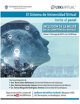 Cartel informativo del Panel: Inclusión de la mujer en las competencias digitales. A desarrollarse el 17 de mayo, a las 10:00 horas, en el Auditorio del edificio Garibaldi