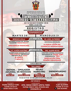 Cartel informativo sobre las Jornadas Estudiantiles de Negocios Internacionales, el 20 y 21 de noviembre, en el Auditorio Adolfo Aguilar Zínser