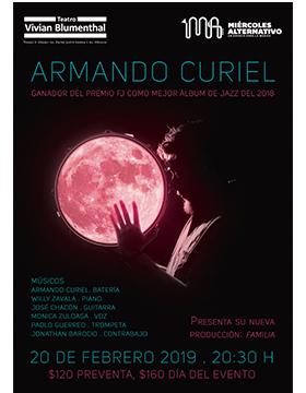 Cartel informativo sobre el  Miércoles Alternativo con Armando Curiel, ganador del Premio como mejor álbum de Jazz del 2018, el 20 de febrero, 20:30 h. en el Teatro Vivian Blumenthal