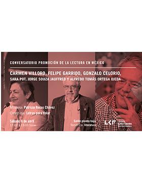 Cartel informativo del Conversatorio promoción de la lectura en México. A realizarse el 6 de abril, a las 17:00 horas, en el salón planta baja de la Librería Carlos Fuentes.