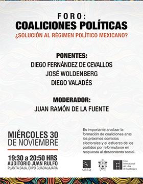 Cartel con texto del Foro: Coaliciones políticas: ¿Solución al régimen político mexicano?