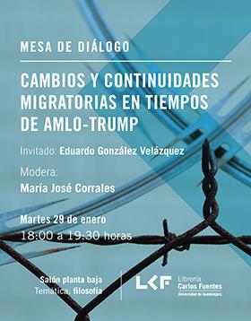 Cartel informativo sobre la Mesa de diálogo: Cambios y continuidades migratorias en tiempos de AMLO-TRUMP, el 29 de enero, a las 18:00 h. en el Salón planta baja, Librería Carlos Fuentes