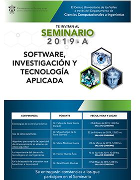 Cartel informativo sobre el Seminario de Software, Investigación y Tecnología Aplicada 2019A, el 28 de enero, 22 de febrero, 28 de marzo, 10 de abril y 7 de mayo, 12:00 h.
