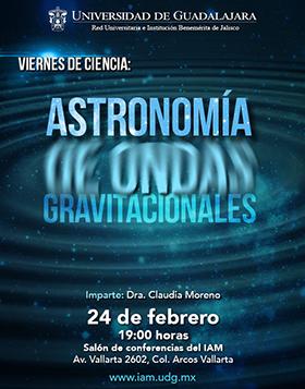Cartel con texto de la conferencia: Astronomía de ondas gravitacionales