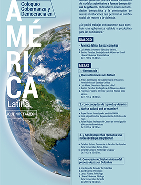 Cartel con texto del coloquio Gobernanza y Democracia en América Latina