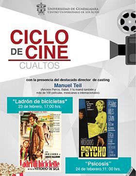 Cartel con texto del ciclo de cine en CUAltos