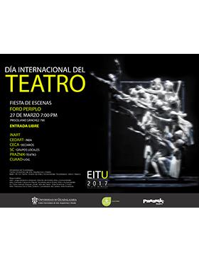 Cartel con día, hora y lugar de Encuentro Internacional de Teatro Universitario