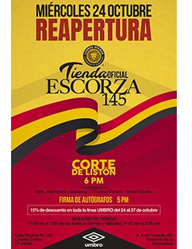 Cartel informativo sobre la Reapertura de la Tienda Oficial Leones Negros, el  24 de octubre en la Tienda Oficial Leones Negros