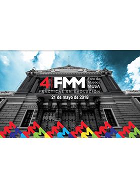 Cartel informativo y de invitación al Cuarto Foro de Museos MUSA: Prácticas en evolución. A realizarse el 21 de mayo, de 9:30 a 20:00 horas. En el Paraninfo Enrique Díaz de León.