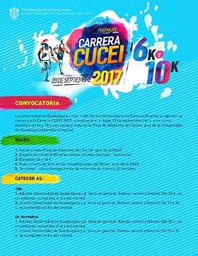 Cartel de texto informativo para participar en las Carreras CUCEI 2017 de 6 y 10 Kilómetros el 23 de septiembre y se estables las bases y convocatoria para las distitntas categorías.