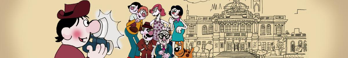 Ilustración con los personajes de La familia Burrón y su creador mientras se toman una fotografia en la fachada de la ex-Rectoría de la UDG