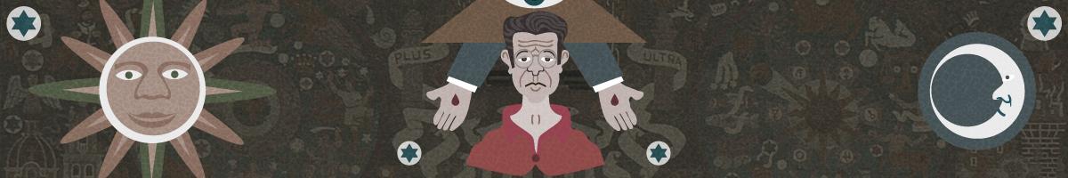 Ilustración dedicada a Juan O'Gorman con el estilo de su famoso mural de la Biblioteca de Ciudad Universitaria