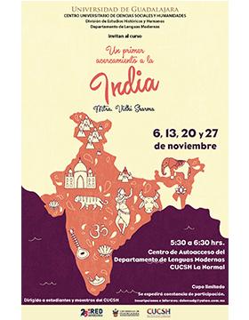 Curso: Un primer acercamiento a la India a llevarse a cabo el 6, 13, 20 y 27 de noviembre a las 17:30 horas.