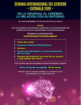 """Cartel informativo y de invitación a la Semana Internacional del Cerebro CUTonalá 2019 """"De la neurona al cerebro: La relación con su entorno"""". A realizarse del 11 al 17 de marzo"""