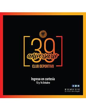 Cartel informativo sobre el 39 aniversario del Club Deportivo de la Universidad de Guadalajara, 13 y 14 de octubre, ingreso en cortesía, en el Club Deportivo de la UdeG