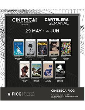 Folleto informativo con la cartelera semanal de la Cineteca del Festival Internacional de Cine en Guadalajara (FICG). A realizarse del 29 de mayo al 4 de junio