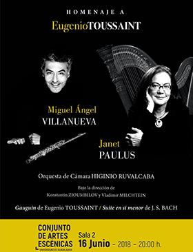 Cartel con texto informativo y de invitación al Homenaje a Eugenio Toussaint. Evento a realizarse el 16 de junio a las 20:00 horas en la Sala 2 del Conjunto de Artes Escénicas.